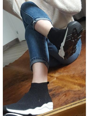 Baskets-chausette souple noire