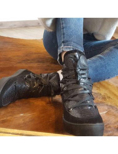 Boots fourrée écailles noires
