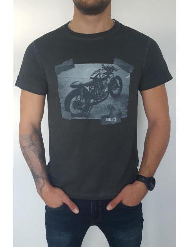 Tee-shirt moto gris anthracite
