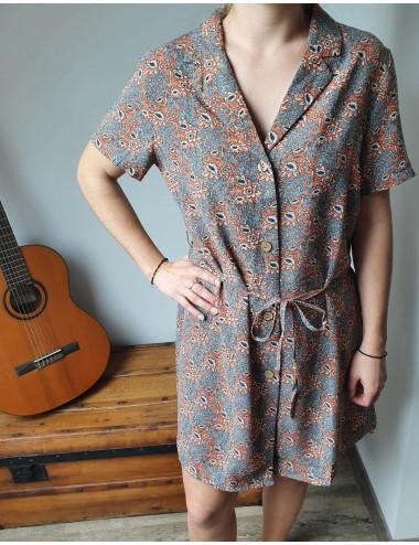 Robe chemise motifs fleurs